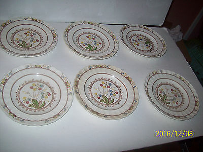Copeland Spode's COWSLIP 6 Lunch Salad Plates Wicker Shape