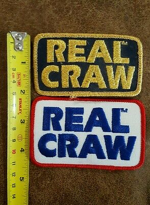"""Lot of (2) NOS Vintage Real Craw Fishing Patches approx 3-1/2"""""""