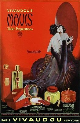 1924 Vivaudou Sexy Semi-Nude Negligee Lover Pin-Up Advert Art Deco Poster 319345