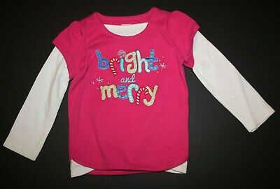 GYMBOREE MERRY /& BRIGHT PINK Cutie THERMAL L//S TEE 12 18 24 2T 3T 4T 5T NWT