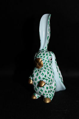 Gorgeous HEREND porcelain figurine china Lop eared rabbit Green fishnet PERFECT