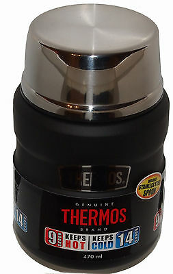 Thermos Food Flask Black Stainless Steel 470 ml -  Hot Up To 9 Hours New