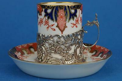 Antique ROYAL CROWN DERBY Imari 2712 Coffee Cup/Can HM SILVER Holder 1909 vgc