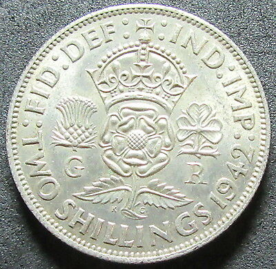 1942 Great Britain Silver Two Shilling Coin