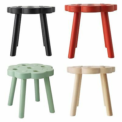 IKEA RYSSBY Stool Kids Chair Footstool Red Black Green Nautral Wood 002.940.31