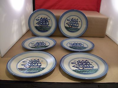 """Set of 6 M.A. Hadley Louisville Clipper Small Salad Plates - 7.5"""" - Signed"""