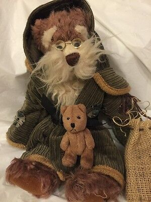 "Ganz Cottage Collectibles Lorraine 14"" Bear Corduroy Patch Cloak 3"" Bear in Sack"