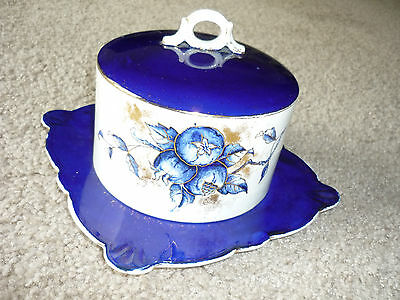 Antique China Covered Cheese Server/ Cobalt Blue & White/  Hand Painted