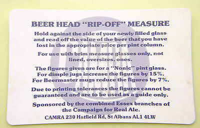 "CAMRA Beer Head ""Rip Off""Measure---Real Ale"