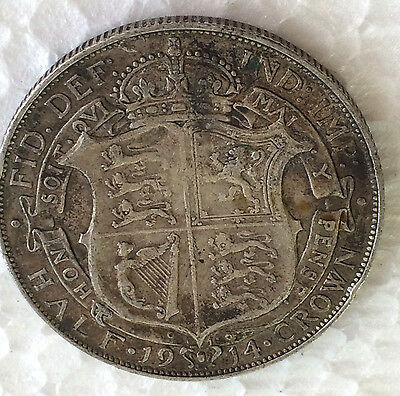 GEORGE V 1914 Silver First Coinage Half Crown .925 Sterling Silver