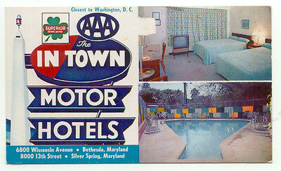 Silver Spring MD The In Town Motor Hotels Postcard - Maryland