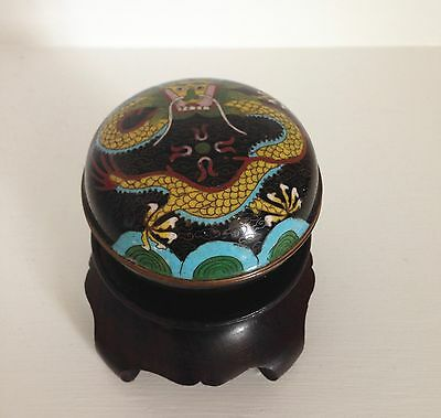 Antique Qing Chinese Cloisonne Dragon Box ~Chasing the Flaming Pearl ~Nice Stand