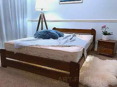 Modern Solid Wood Wooden Bed Oak Pine Grey Walnut Single Double King Size