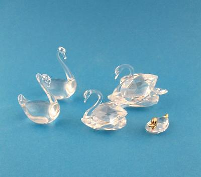 Group of Glass Crystal Swans and Duck