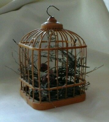 Small Wooden and Wicker Bird Cage with Birds