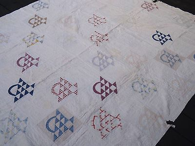 "Wonderful Old Vintage Antique Iowa Flower Basket Quilt 70"" x 83"""