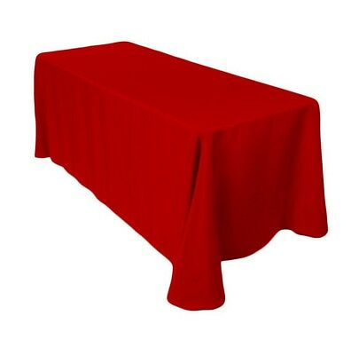 90x156 Inch Red Rectangular Polyester Tablecloth