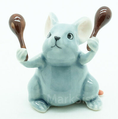 Figurine Animal Ceramic Statue Rat Mouse Mice Playing Maracas Musical - FG091-4