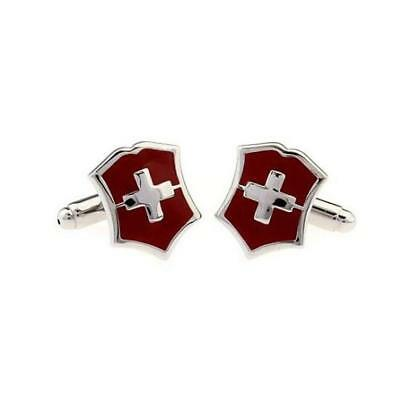 Red Swiss Flag Mens Shirt Cufflinks Cross Cuff Links Unique Party Decor Gift