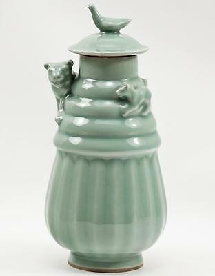 Rare Lunghu Ping Antique Chinese Celadon Funerary Lidded Urn Vase w Tiger & Cub