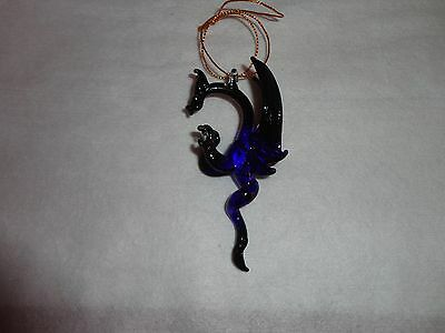 Hanging Purple and Black Dragon of Blown Glass Crystal