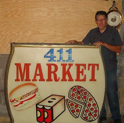 Vintage lighted Advertising Market Sign Double Sided Greeneville Tennessee