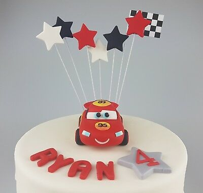 Disney Cars Lightening Mcqueen Edible 3D Cake Topper, Stars, Flag Birthday Party