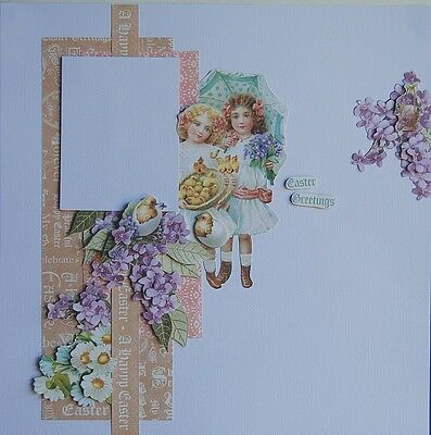 Handmade Scrapbook Page Pre-Made Scrapbooking Layout - Easter/Female