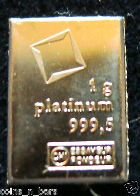 1 Gram PLATINUM BAR~VALCAMBI SA SUISSE ~999.5 Pure Platinum Bar