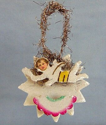 Antique German Christmas Tree Ornament 3D Star With Angel And Venetian Dew 1930s