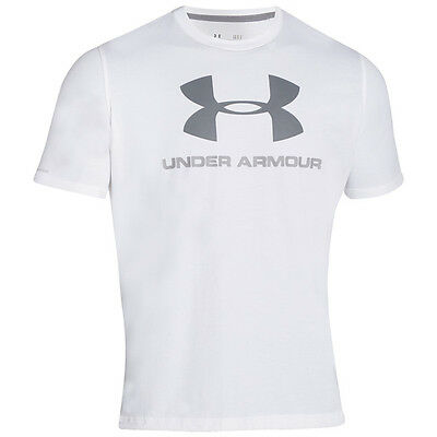 Under Armour Charged Cotton Sport Style Logo T-Shirt Bianca Grigio Blu
