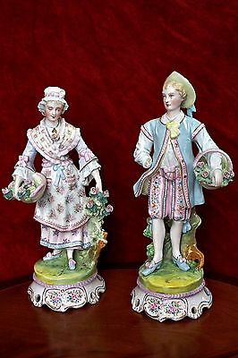 Pair of Large Antique German Porcelain Figurines