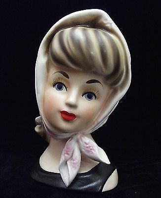 "5 1/2"" Lady Head Vase Headvase Lady w/Head Scarf ""Babushka Girl""~ Relpo K-1615!"