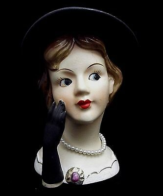"5"" Lady Head Vase Headvase Black Hat & Glove Pearls & Jewels ~ Rubens 48xx"