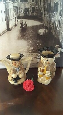 Vintage China Toby Jug and Toby Teapot from Tony Wood Studio, Staffordshire