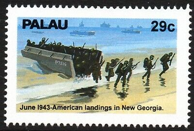 WWII June 1943: US Forces Land in New Georgia / Landing Craft Assault Ship Stamp