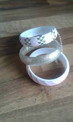 Girls Set of 3 Bracelets, Pink and Gold, Claires