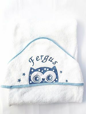 personalised BLUE OWL Beautiful Embroidered Baby Hooded Towel - Bath Robe