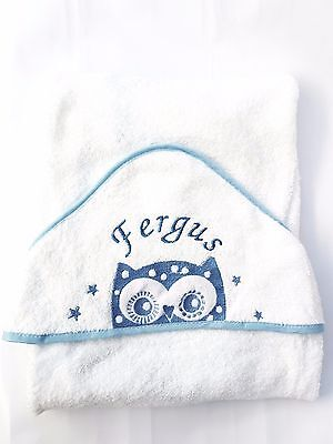 personalised BLUE ROCKY Beautiful Embroidered Baby Hooded Towel - Bath Robe