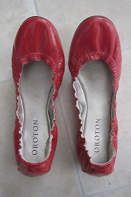 Oroton red patent leather ballet flats shoes size 39