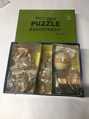 Vintage Japanese wooden puzzles. Set Of 6