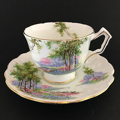 Aynsley Teacup And Saucer Bone China England Treed Scenery Gold Trim