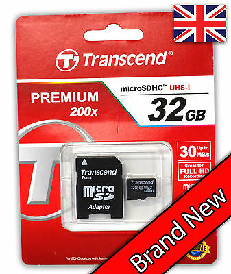 Transcend 32GB Premium Class 10 Micro SD Card with Adapter SDHC TF Flash Memory