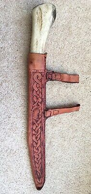 Hand Made Leather Knife Seax Scabbard Viking Saxon Medieval Re-enactment Larp
