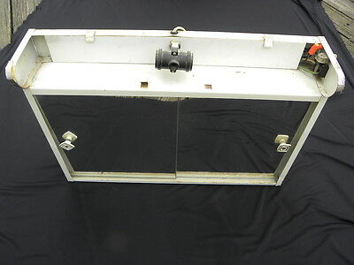 Vintage Lighted White Metal Medicine Cabinet with Mirrored Sliding Doors