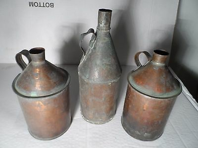 Old Vintage Copper Flagon Jugs Distilling Chemist Alcohol ? x 3 As found