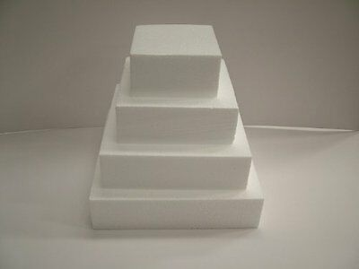 "Square Polystyrene Cake Dummy 8"" Square 3"" High"
