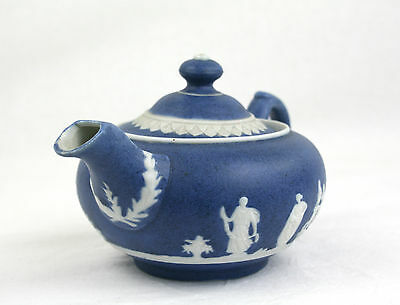 Antique Blue Jasperware Teapot Unmarked Small One Person