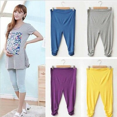 Fashion Woman Maternity Comfy Cropped Pants Adjustable Prop Belly Cotton Slim