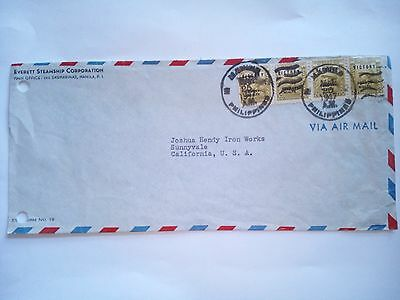 Philippines Manila Stamped Cover 1947 Air Mail To California Usa Stamps